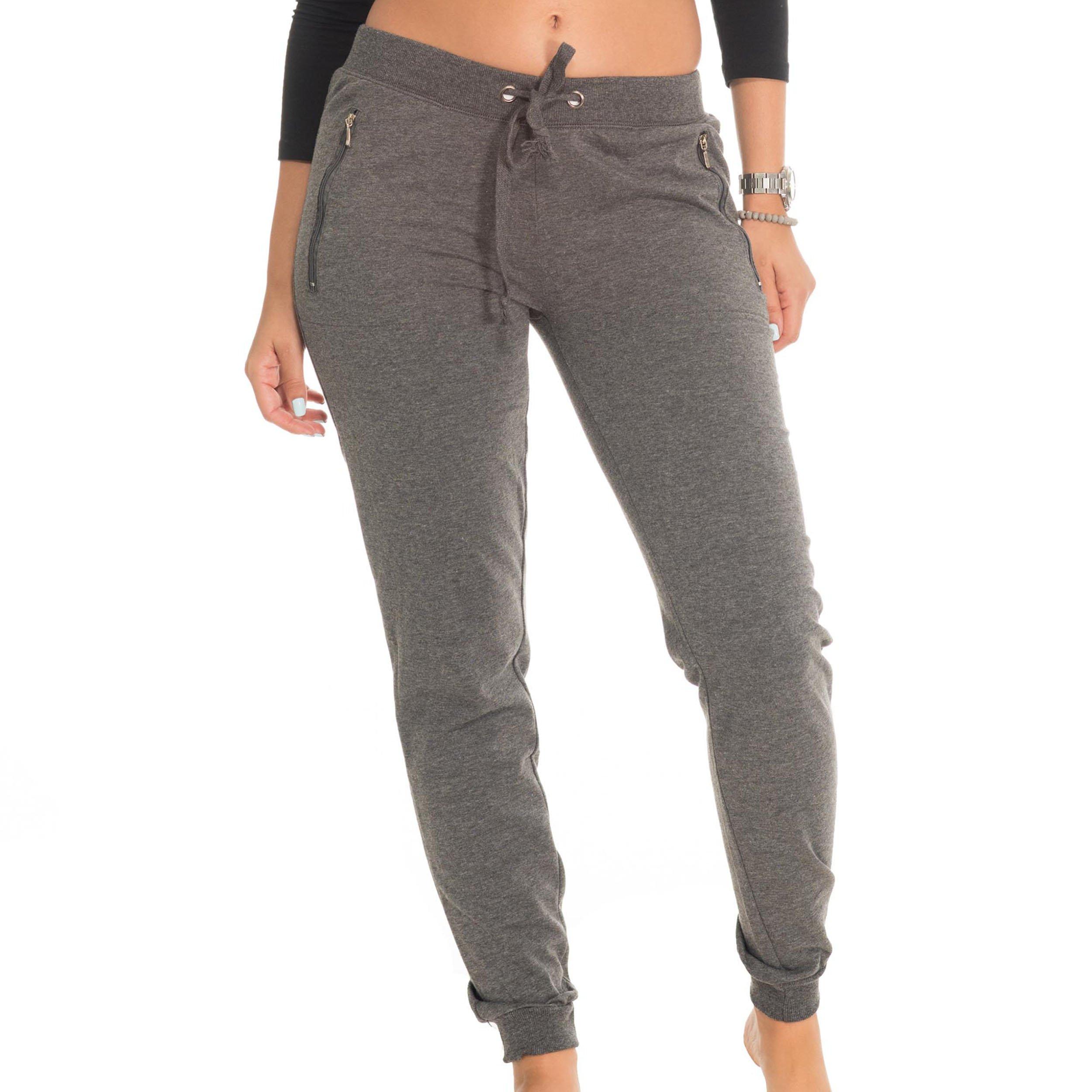 Coco-Limon Sweatpants For Women - Long, Fleece, Drawstring Waist With Zipper Pockets,Heather Charcoal,Medium
