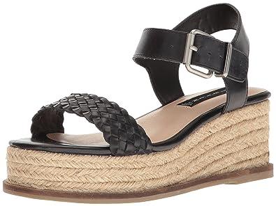 STEVEN by Steve Madden Women's Sabble Wedge Sandal, Black Leather, ...