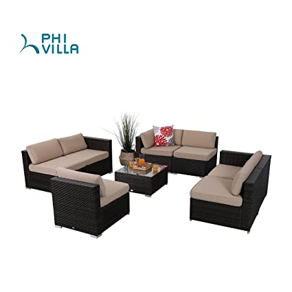 PHI VILLA 8-Piece Outdoor Furniture Set Rattan Conversation Set Sectional Sofa with Seat Cushions, Beige …