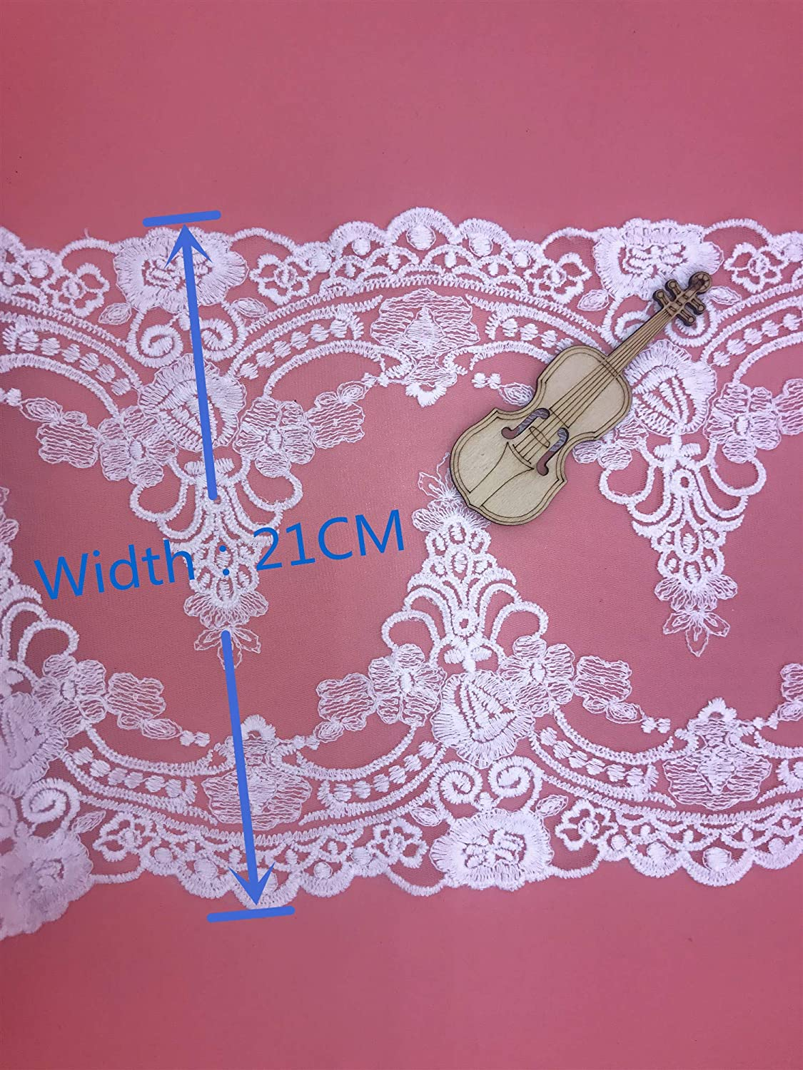 4 Yards in one Package 21CM Width Europe Ribbon Wedding Applique Inelastic Embroidery Lace Trim,Curtain Tablecloth Slipcover Bridal DIY Clothing//Accessories. White