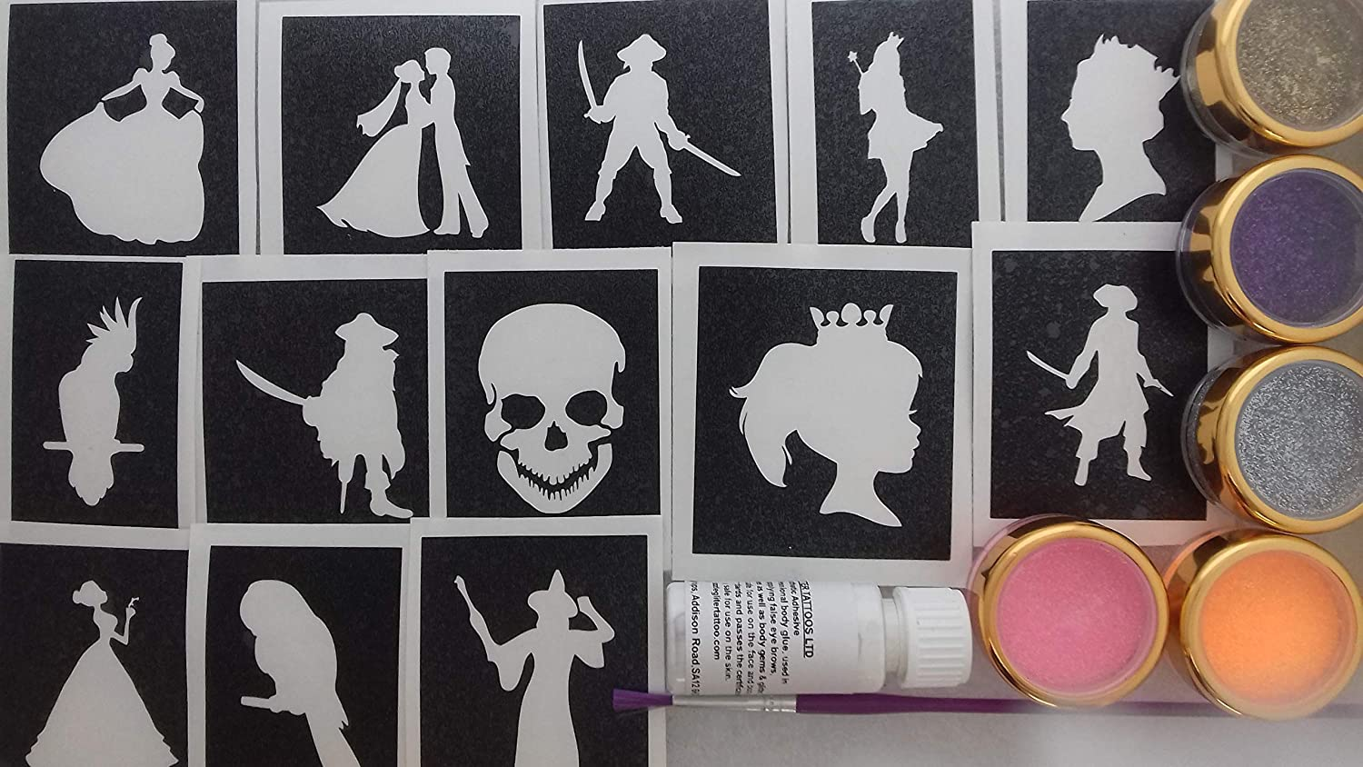 Amazon.com: Pirata & Princess Glitter Tattoo Set incluyendo ...