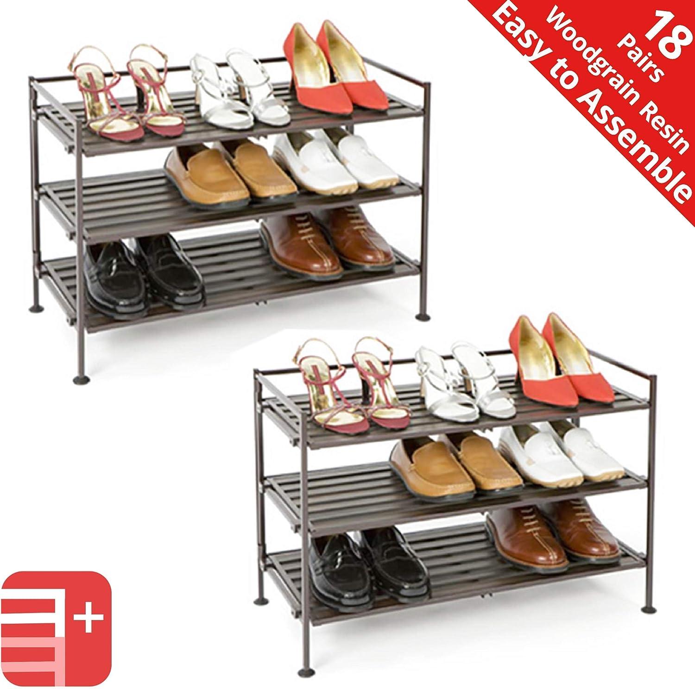 Seville Classics 3-Tier Stackable 9-Pair Woodgrain Resin Slat Shelf Sturdy Metal Frame Shoe Storage Rack Organizer (2-Pack), Perfect for Bedroom, Closet, Entryway, Dorm Room, Espresso