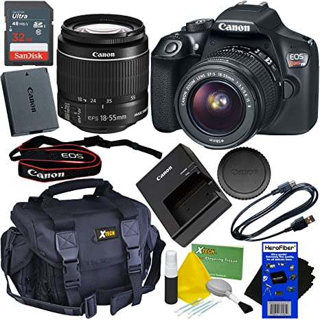 Canon Eos Rebel T6 Dslr Camera With Ef S 18 55mm Is Ii Lens Bundled With 32gb Memory Card Battery Charger Gadget Bag Cleaning Kit W Herofiber