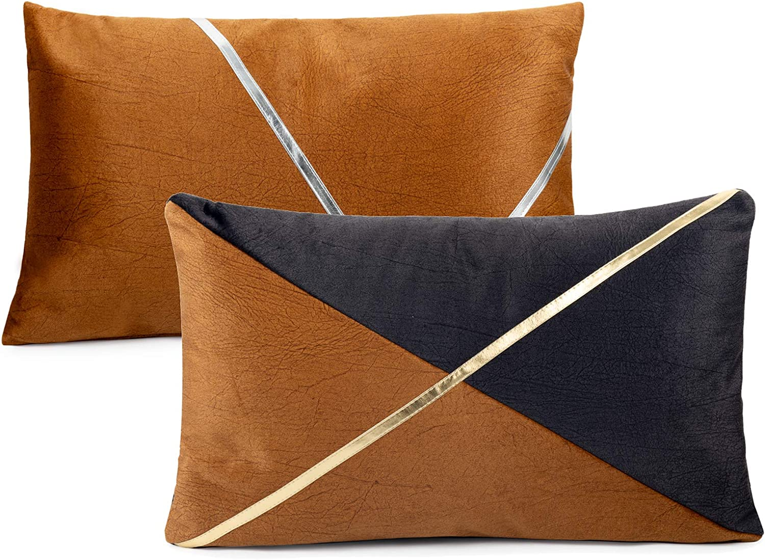 Eiyye 2-Pieces Brown Stitching Pillow Case Throw Covers Couch Sofa Stripe Faux Leather Entry Lux FarmhouseDecorative Modern Decor 12 x 20 Inches