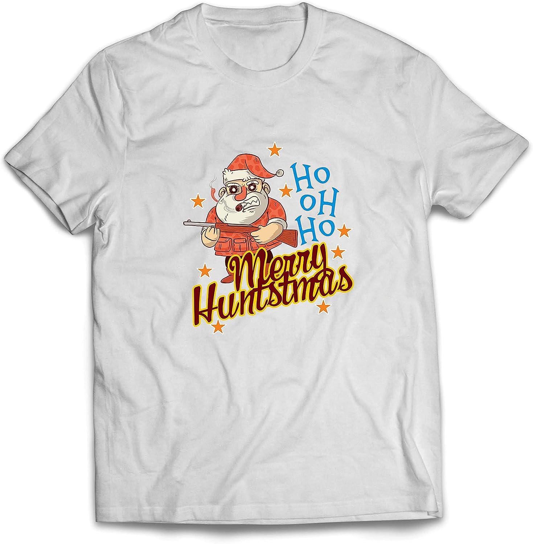lepni.me Camisetas Hombre Cazador de Divertidos Papá Noel Regalo de Caza de Navidad para él