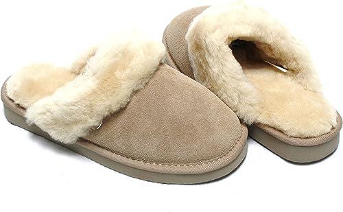 Lammfell Pantoffel Slipper Damen Hausschuhe braun mit braunen Fell oder beige Sand mit beigen Fell mit Comfort Sohle sehr warm