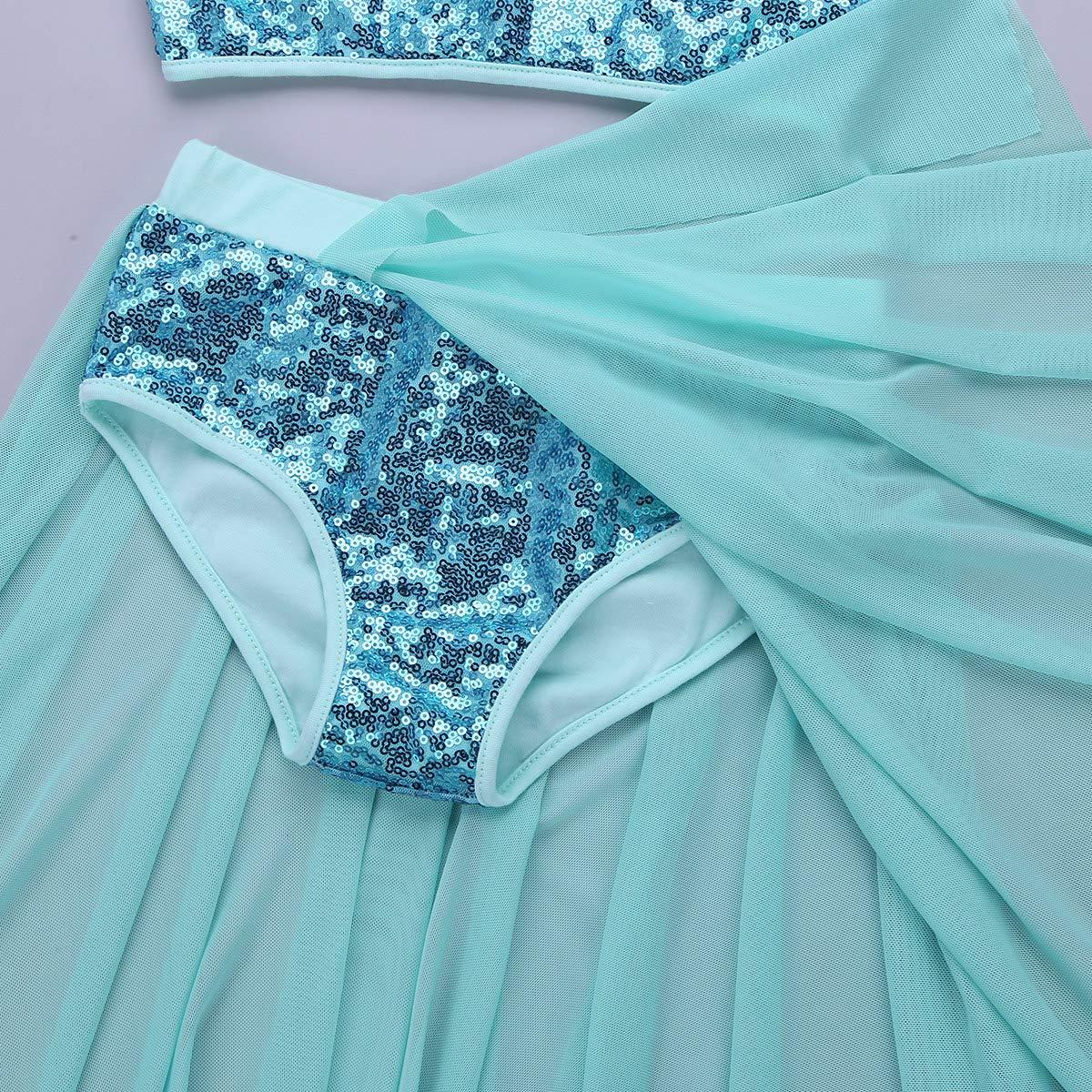 CHICTRY Kids Girls Sequins Lyrical Dance Dress Split Ballroom Dancewear Costume Asymmetrical Overlay