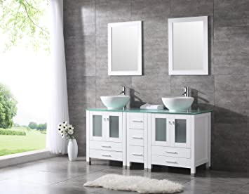 Sliverylake 60u201d Double Sink Bathroom Vanity Cabinet Glass Top W/Mirror  White Ceramic Vessel
