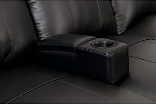 Removable Armrest with Storage Compartment Black Casual Transitional Solid Leather Wood Handmade