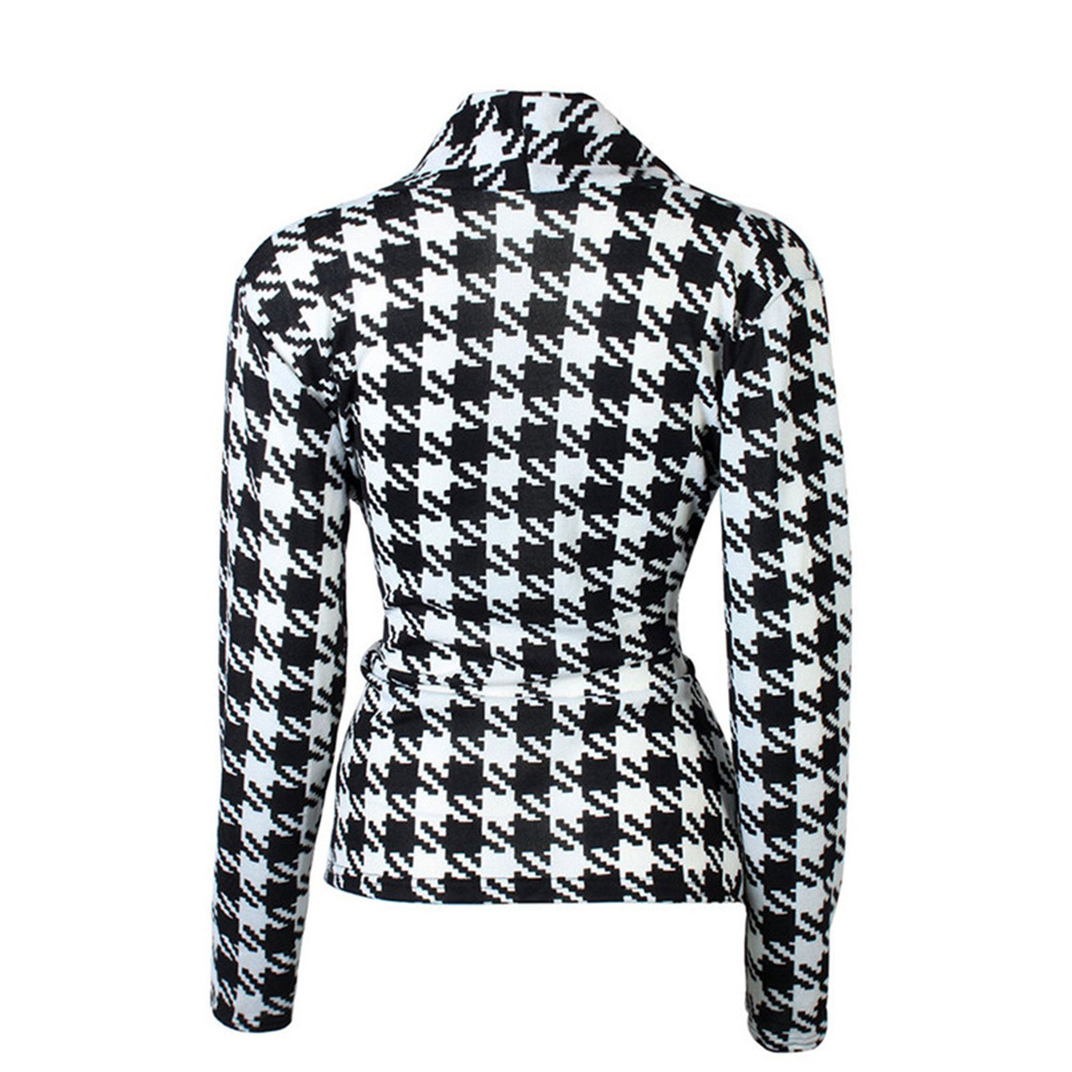 Michael Palmer Women Jackets Black White Plaid Blazer Coat Work Wear Office OL style Blazer with Sashes at Amazon Womens Clothing store: