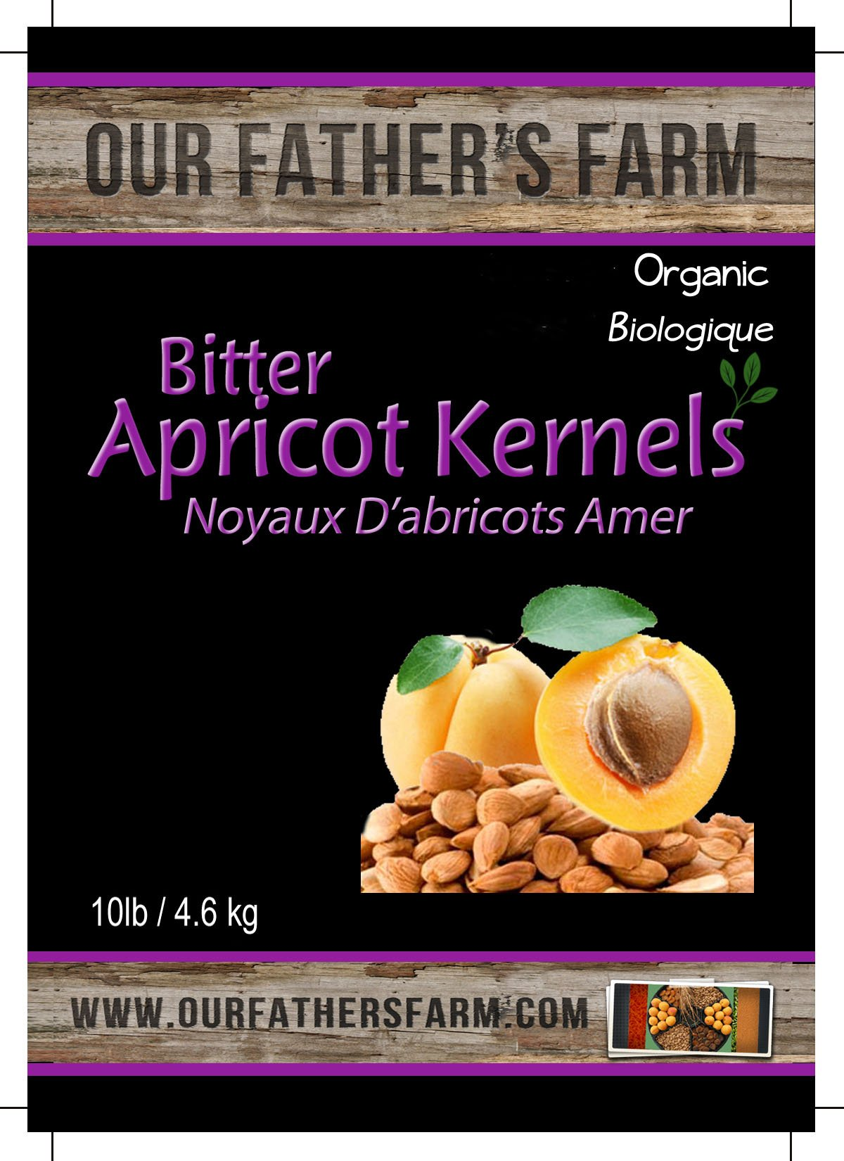 Our Father's Farm Bitter Certified Organic Raw Apricot Seeds (10 Pounds / 4.5kgs) by Certified Organic
