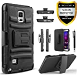 Note 4, Galaxy Note 4 Case, Dual Layers [Combo Holster] Case And Built-In Kickstand Bundled with [ Premium Screen Protector] Hybird Shockproof And Circlemalls Stylus Pen[Black]