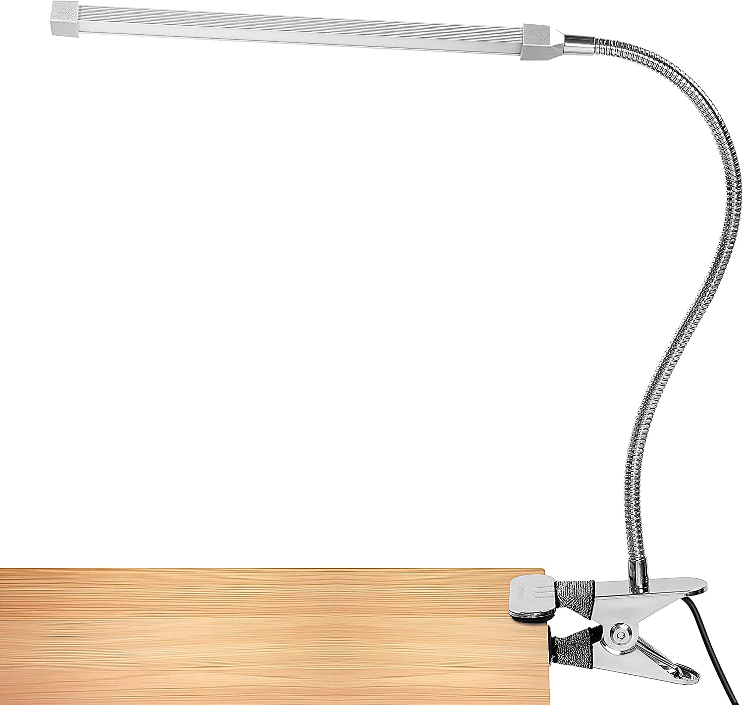 LEPOWER 5W LED Clip on Light, Reading Light with Flexible Gooseneck, Eye Care, 2 Color x 2 Brightness Night Light Clip on for Desk, Bed headboard and Piano (Silver)
