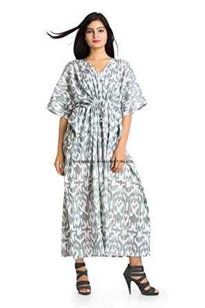 ffb7362347e Image Unavailable. Image not available for. Color  HANDICRAFT-PALACE Womens  Hippie Boho Caftan Kaftan Kimono Summer Cocktail Maxi Dress Plus Size