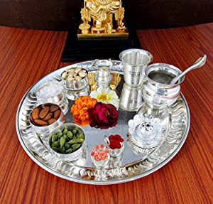 NOBILITY Silver Plated Pooja Thali Set - Premium Occasional Gift - Puja Thali Decorative - Wedding Return Gift - Size: 12 inch