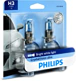 PHILIPS 12336CVB2 H3 CrystalVision Ultra Upgrade Bright White Headlight Bulb, 2 Pack