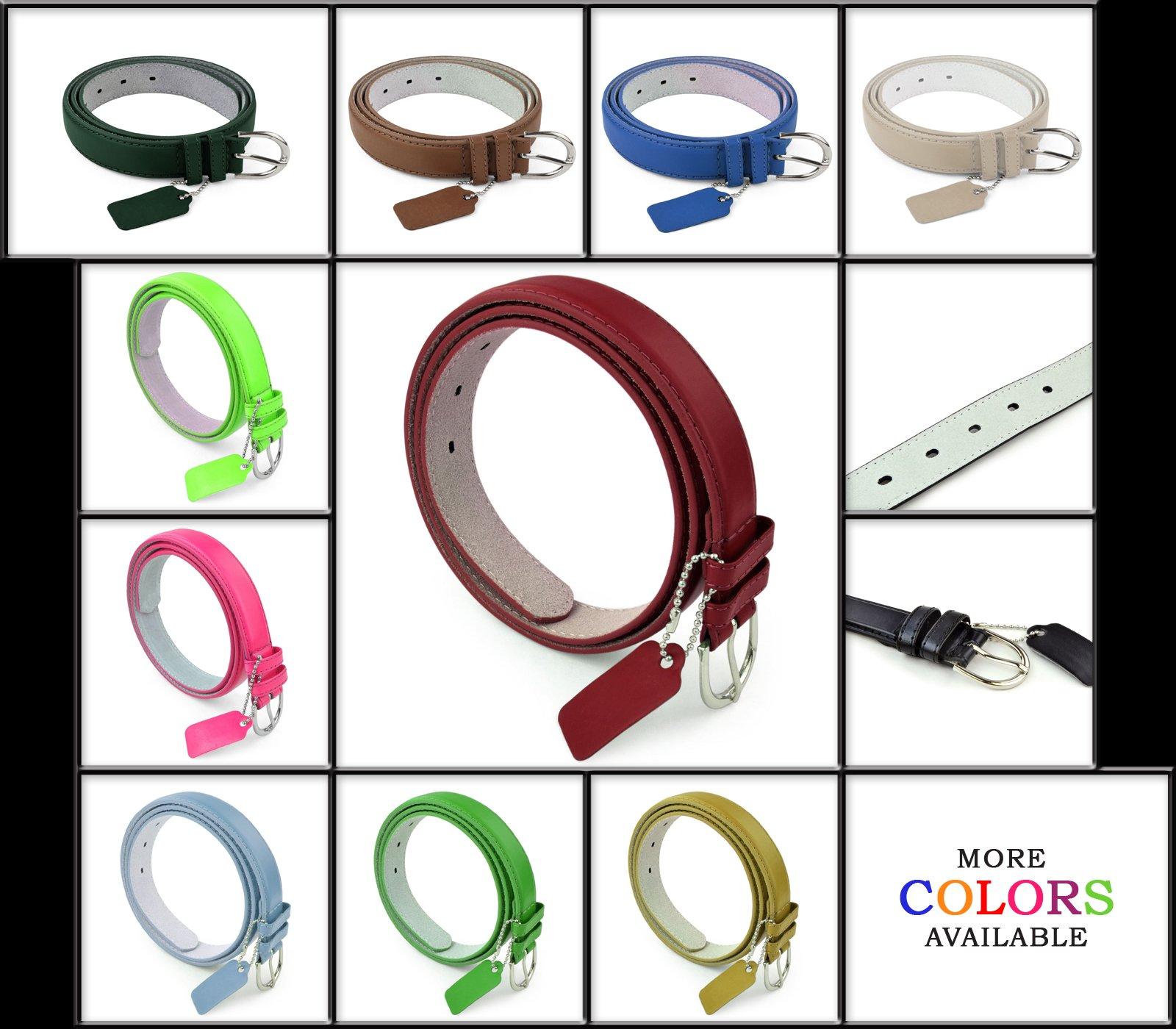 Womens Dress Belt - Solid Color Bonded Leather Silver Polished Buckle Belle Donne