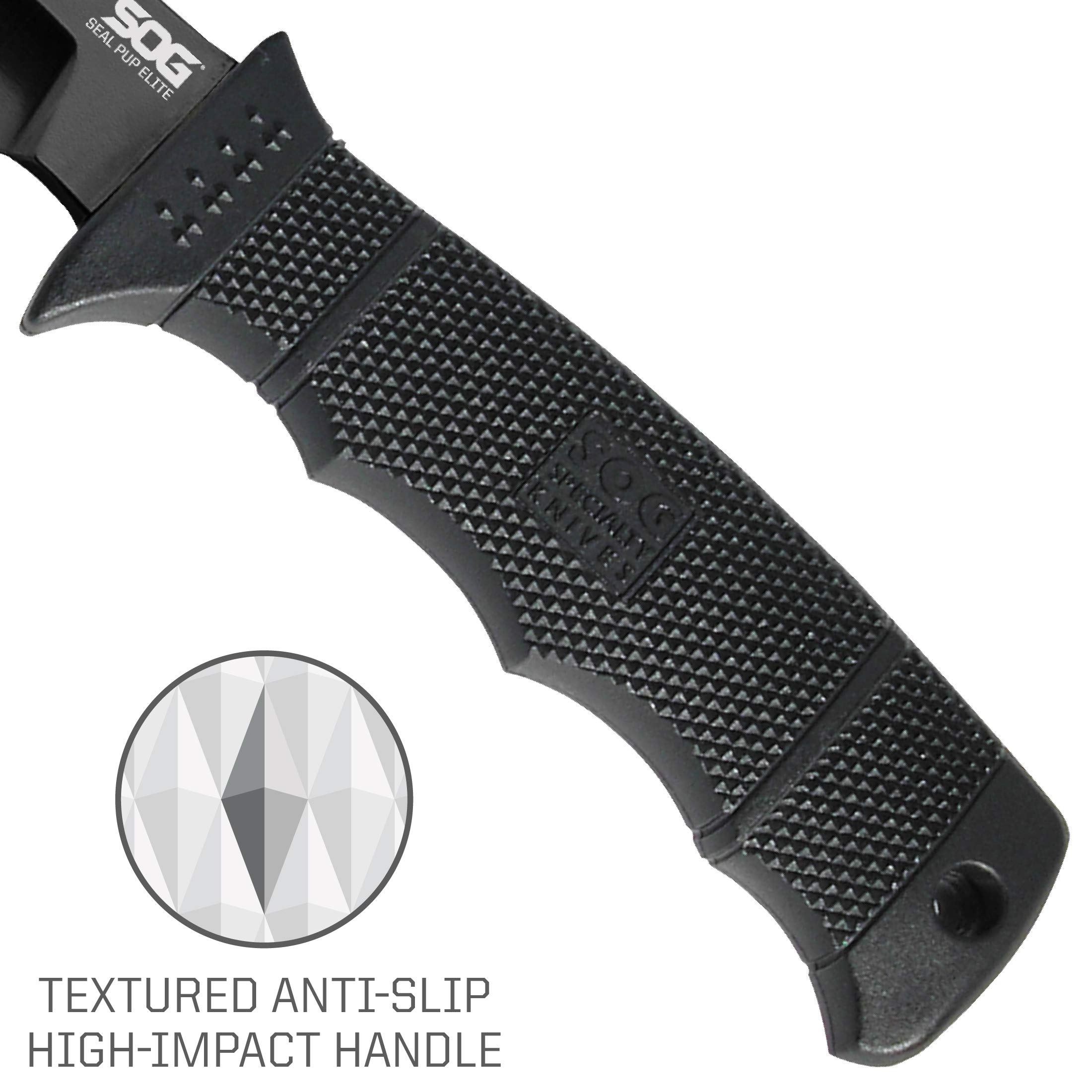 SOG Fixed Blade Knives with Sheath - SEAL Pup Elite Survival Knife, Hunting Knife w/ 4.85 Inch AUS-8 Bowie Knife Blade for a Tactical Knife (E37SN-CP) by SOG (Image #4)