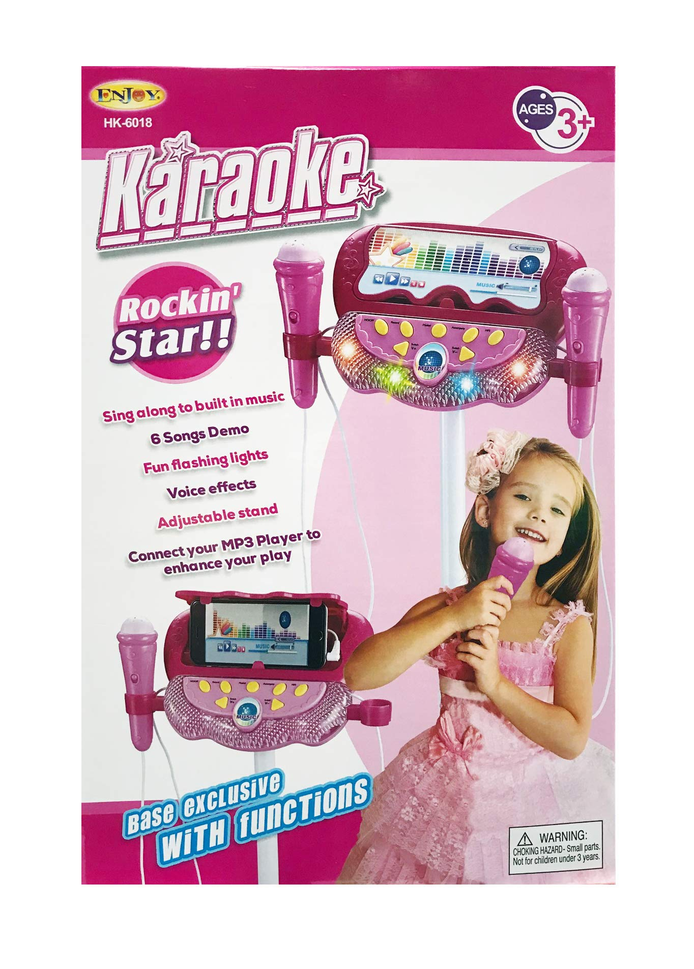 Kids Karaoke Machine with 2 Microphones and Adjustable Stand, Kids Microphone AUX Cable Connect to Your Electronic Devices for Music Player Toy Play Set