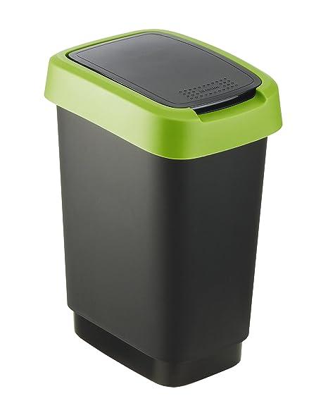 Rotho Cubo de Basura, Negro/Verde, 10 L