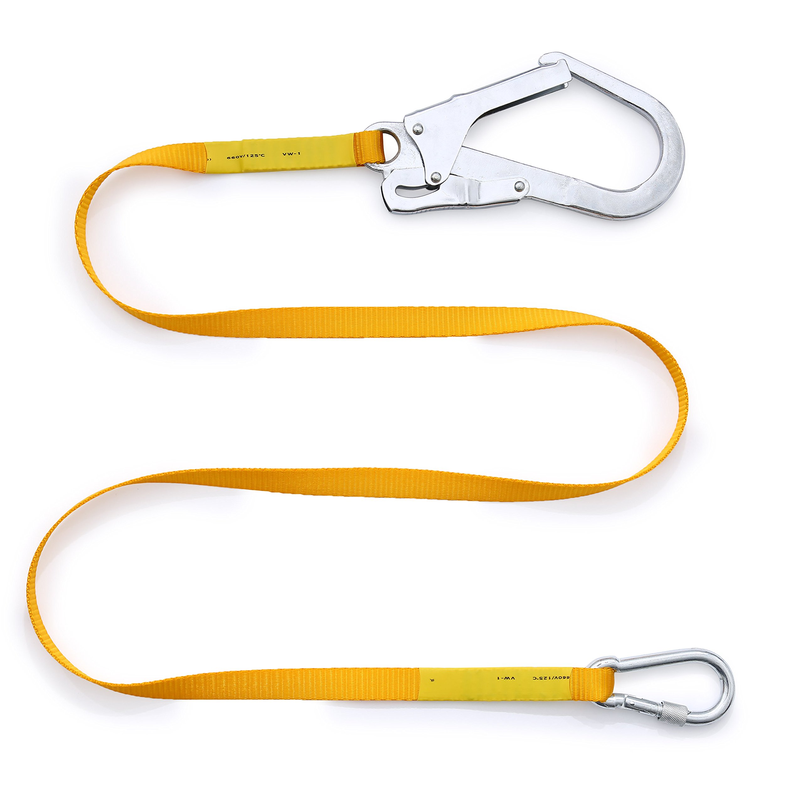 Safety Lanyard,Outdoor Climbing Harness Belt Lanyard Fall Protection Rope with Large Snap Hooks, Carabineer