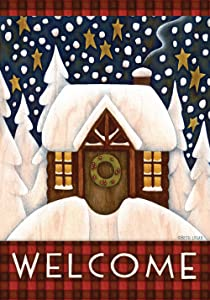 Toland Home Garden Snowy Cabin 28 x 40 Inch Decorative Winter Welcome Cozy Snow Holiday House Flag - 101219