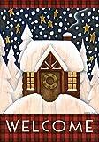 Toland Home Garden 111219 Toland-Snowy Cabin-Decorative Welcome Winter Cozy Snow Holiday USA-Produced Garden Flag