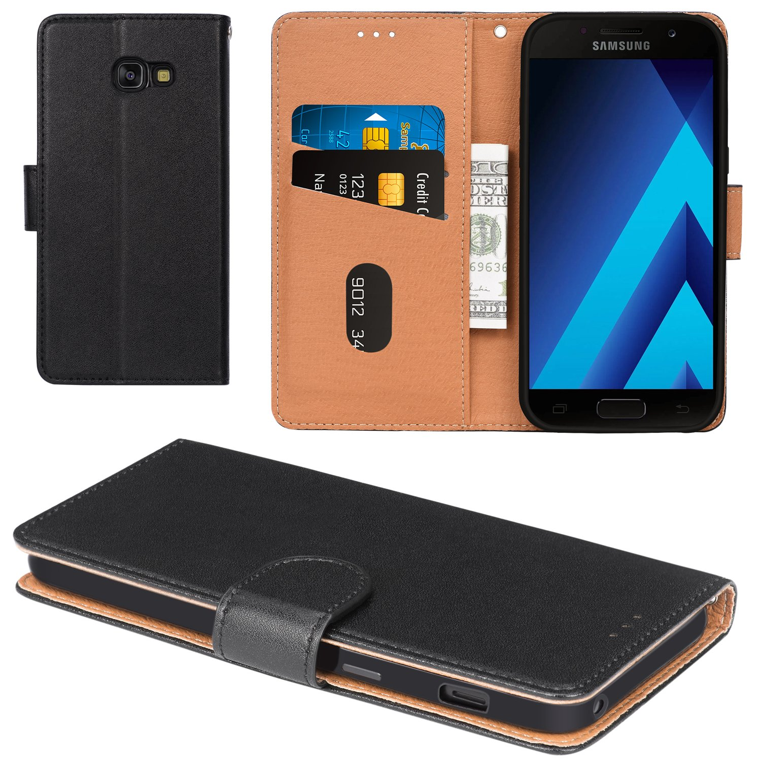 Galaxy A5 2017 Case, Aicoco Flip Cover Leather, Phone Wallet Case for Samsung Galaxy A5 2017 (5.2 inch) - Black