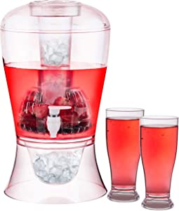 Homeries Large Beverage Dispenser (2 Gallon) Stand & Two Acrylic Cups – Ice Base & Core – Shatterproof Acrylic Drink Dispenser for Lemonade, Iced Tea, Juice, Fruit Infusions & Beer – BPA FREE,
