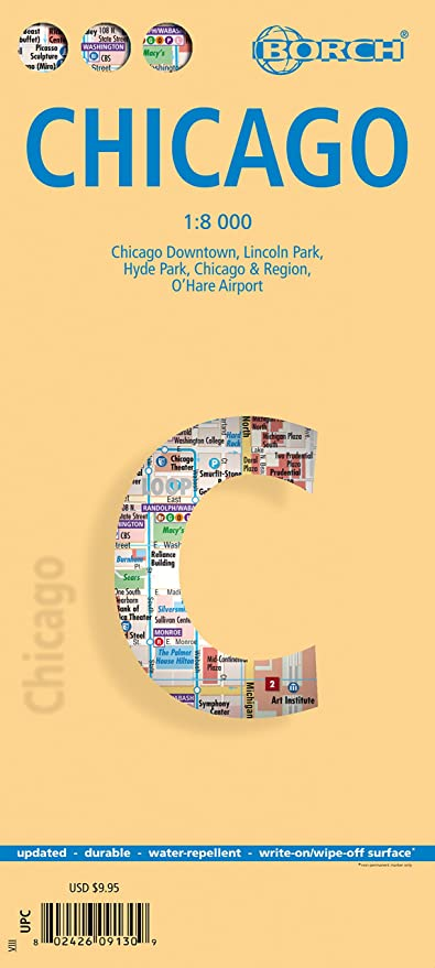Amazon Com Chicago Il Laminated Borch Us City Map Office Products