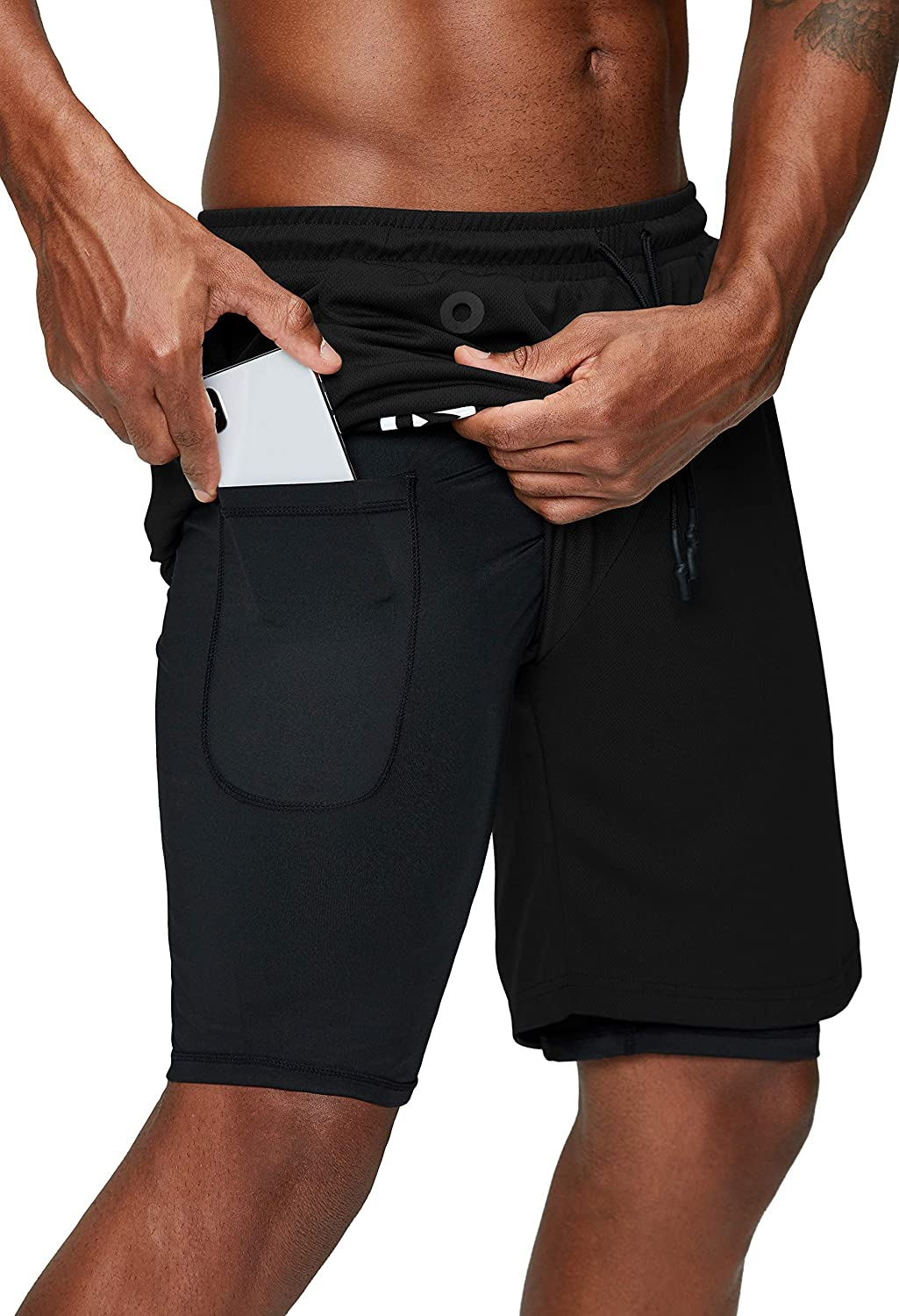 Mens 2 in1 Running Sports Shorts With Phone Pocket Liner Workout fitness Short
