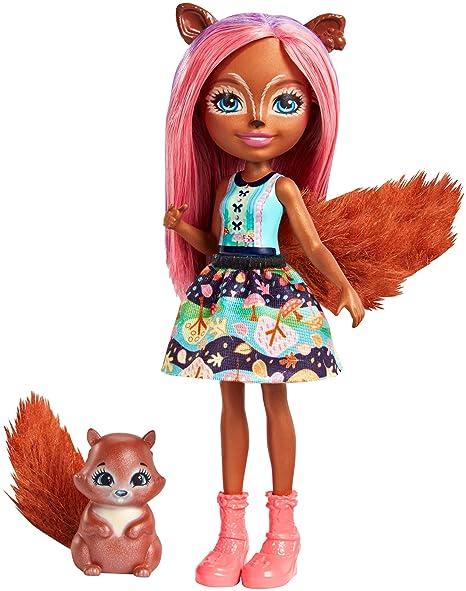 Enchantimals bambola sancha lo scoiattolo e cucciolo playset per