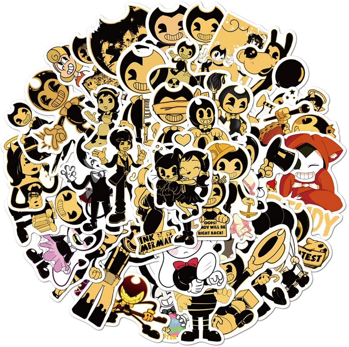 Bendy and The Ink Machine Stickers for Laptop and Computer?50 PCS? Anime Cartoon Waterproof Vinyl Stickers for Water Bottle Hydro Flask Car Bumper Luggage (Bendy and The Ink Machine)