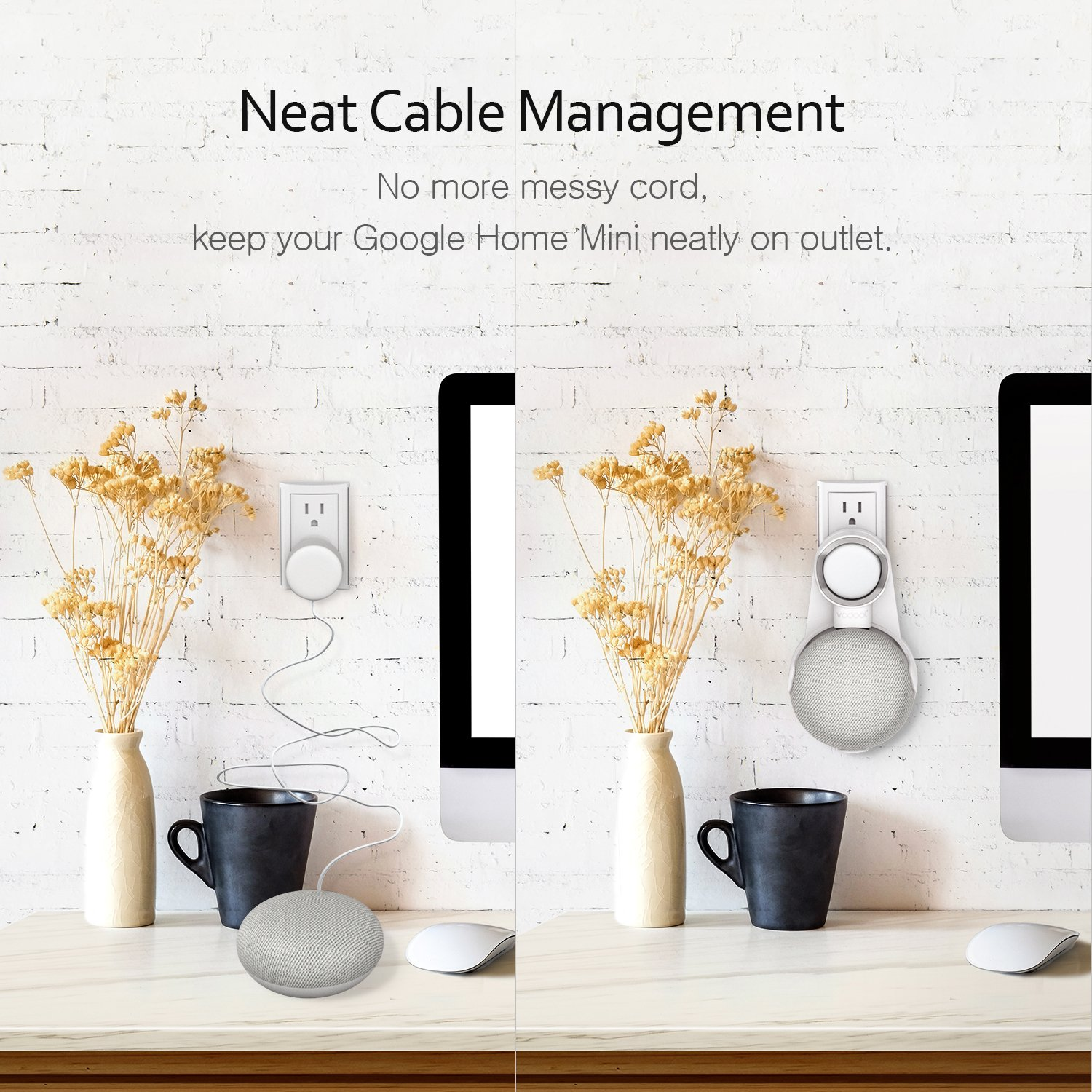 Vodool Outlet Wall Mount for Google Home Mini, a Space-Saving Solution for Your Voice Assistant, Compact Holder Hanger in Kitchen Bathroom Bedroom (White)