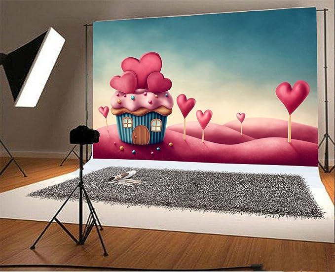 Wofawofa Vinyl 5X7FT Girls 1st Birthday Backdrop Sweet Baby Shower Backdrops Cake Smash Ice Cream Candy Cane Lollipops Cartoon Photography Background for Kids Princess Party Photo Studio Props KX581