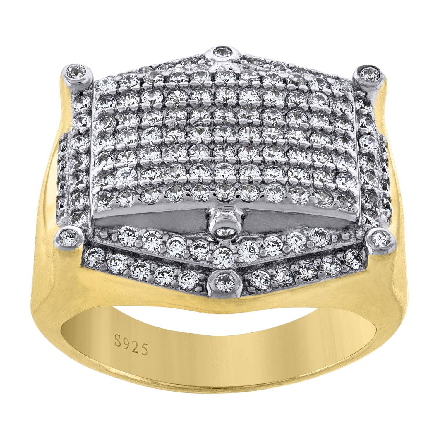 Jewels By Lux 925 925 Sterling Silver Yellow-tone Mens Cubic Zirconia CZ Cluster Hexagon Head Wedding Ring Band 11mm