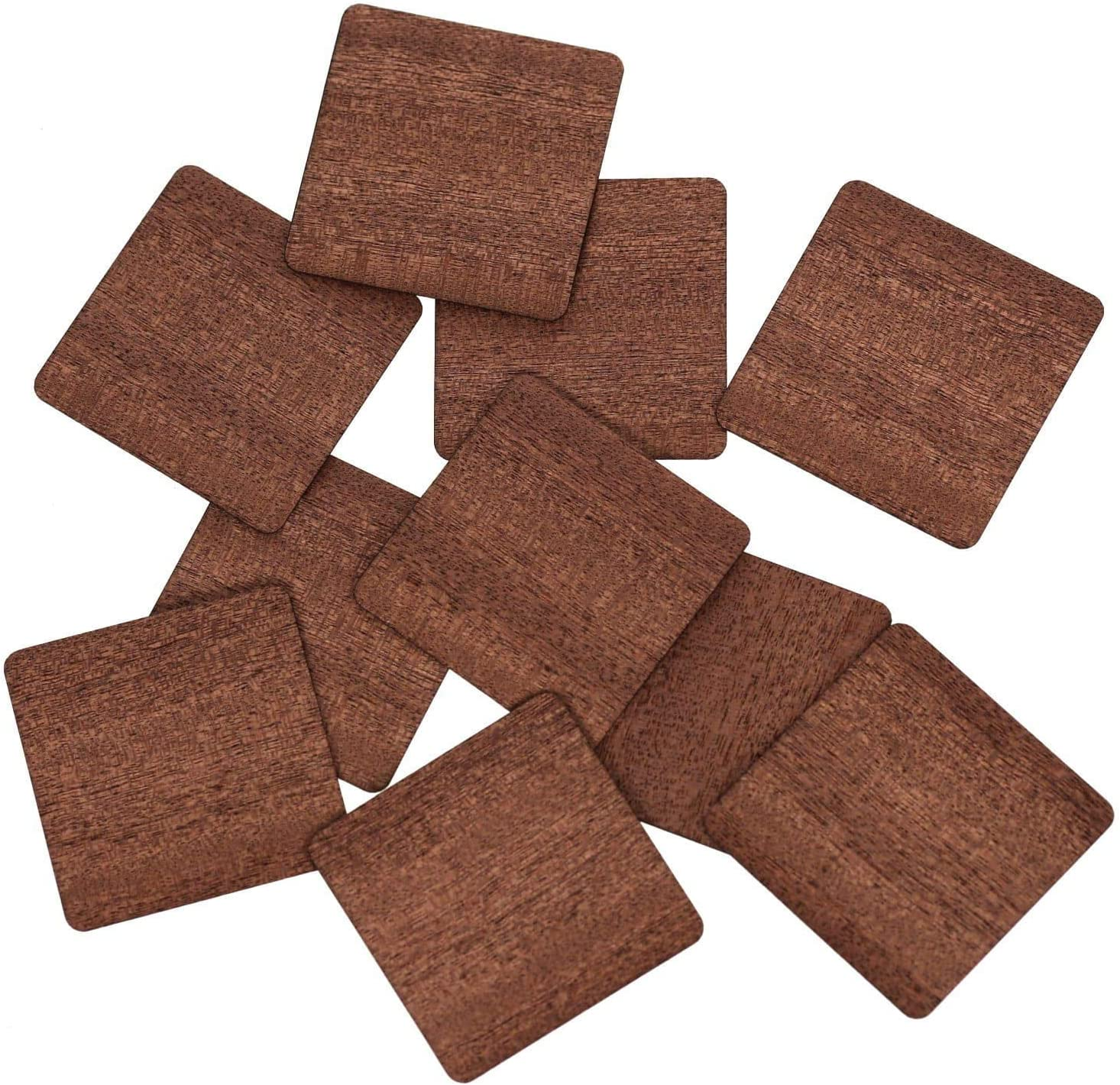 /10/cm adornos Manualidades Decoraci/ón 1x1cm 10 unidades /1/ Chapa de madera aut/éntica cuadrados oscuro/ /Discos de madera/