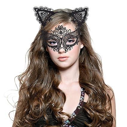 Haarreif Katzenohren & Lace Masquerade Set, [ Süße, Sexy & Komfort ], Haarreifen mit Ohren   Haarbänder Katze   Masks Damen  
