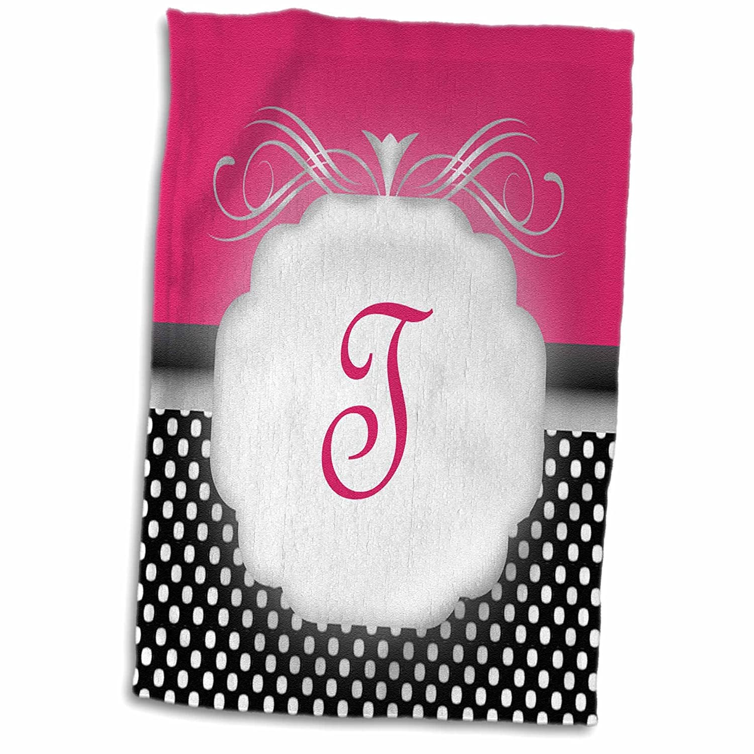 3D Rose Elegant Pink with Black and White Polka Dot Monogram Letter T Hand/Sports Towel 15 x 22