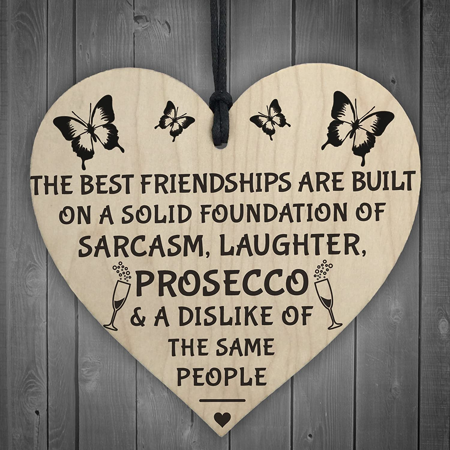 Red Ocean Best Friendships Foundation Is Prosecco Wooden Hanging Heart Alcohol Joke Sign Novelty Plaque Gift RO-2723