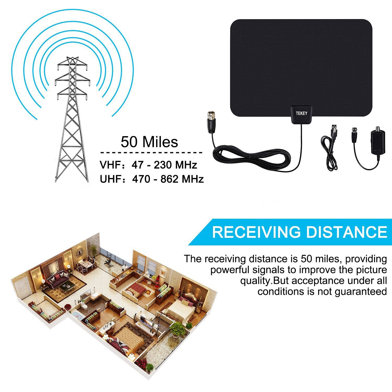tekey 50 Mile Digital HD amplificador de antena con cable coaxial de 10 m 30 días: Amazon.es: Electrónica