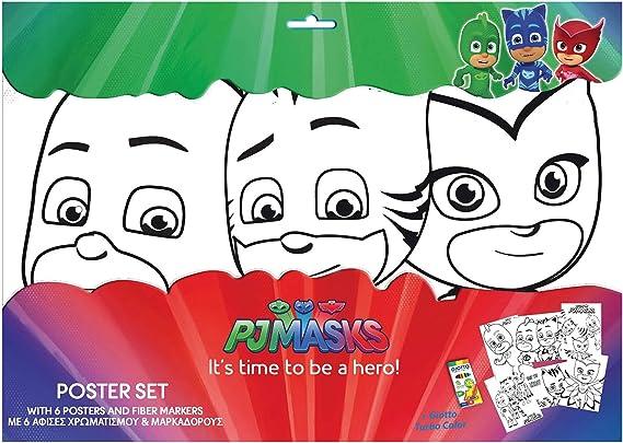 FACTORYCR- Set 6 láminas a3 y rotuladores pjmasks 31x42,5 cms ...