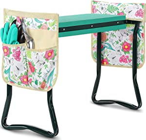 Trwasnow Garden Kneeler Seat with 2 Tool Pouches Garden Bench with Widen EVA Foam Pad Garden Stools Outdoor Tools Kit Sturdy Foldable Stools Gift for Gardening Lovers