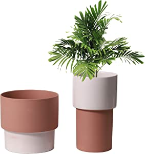 UBEE Ceramic Planter Flower Garden Pot for Plant Pot Home Decor Bedroom Bathroom Decor Plant Pack 2