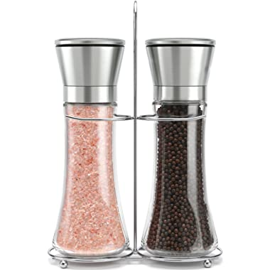 Original Stainless Steel Salt and Pepper Grinder Set With Stand - Tall Salt and Pepper Shakers with Adjustable Coarseness - Salt Grinders and Pepper Mill Shaker Mills Set