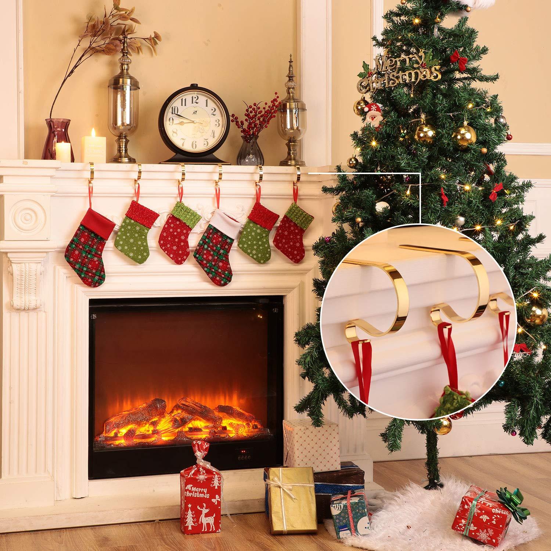 Oro, 4 Hotop Ganchos Soportes de Calcetines Navide/ños Perchas de Chimenea Pinzas Colgantes de Metal para Suministros Decoraci/ón de Fiesta de Navidad