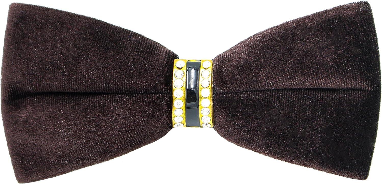 Levao Mens Velvet Fashion Solid Color Bow Tie Tuxedo Rhinestone Banquet Bowtie