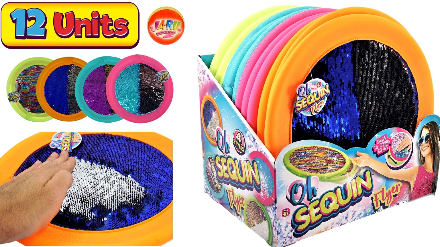 JA-RU Soft Flying Disc Wet or Dry Safe 11'' (12 Pack) Frisbees with Sequin Shimmery Material, Kids & Adults Toys Games for Beach Lake Pool Playground & Outdoors Party Plus 1 Bouncy Ball. 4637-12P by JA-RU