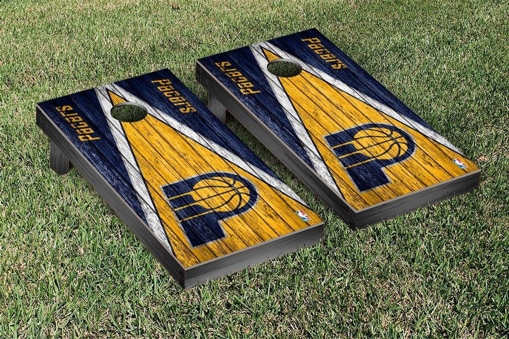 Indiana Pacers NBA Regulation Cornhole Game Set Triangle Weathered Version