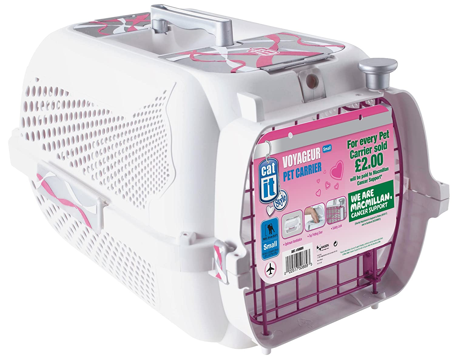 0acd70e3944 Amazon.com : Catit Style Pink Ribbon Voyager, White - Small : Pet Carriers  : Pet Supplies